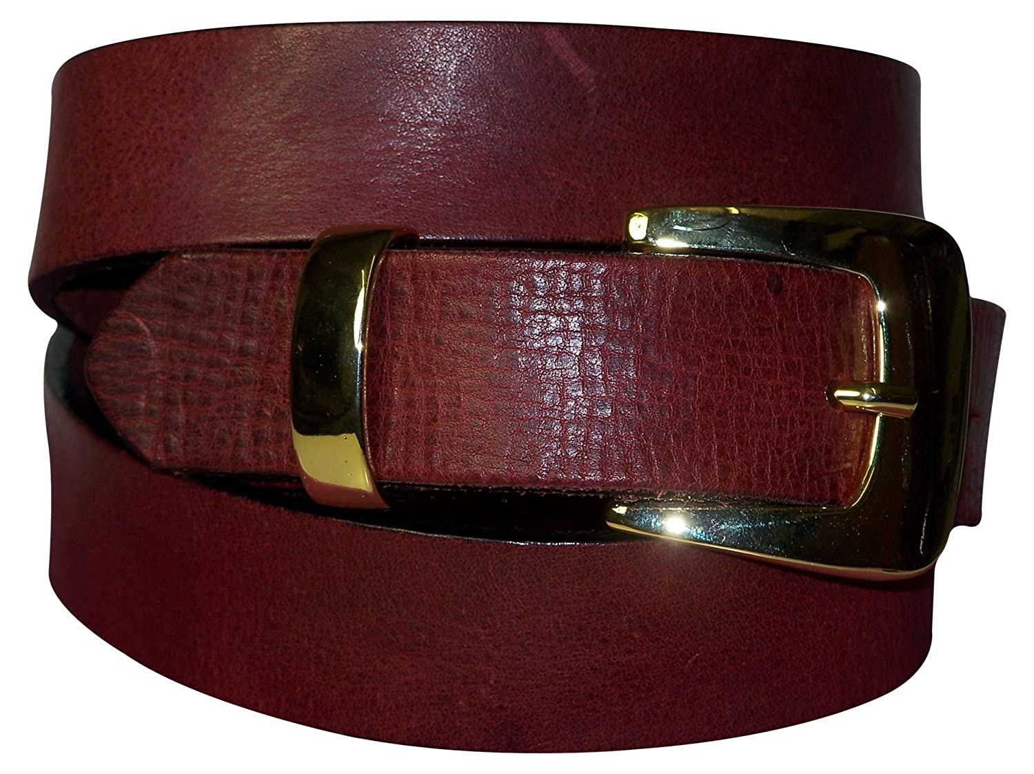 FRONHOFER Traditional natural leather belt with a stag buckle and edelweiss