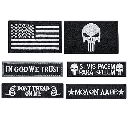 7327ba54671 Amazon.com  Bundle 6 Pieces Tactical Military Morale Patch Set (Black)   Arts