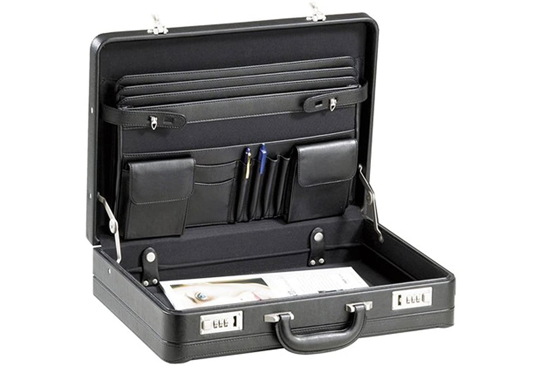 D & N Aktenkoffer Kunstleder Laptop Business 46x34x12cm Schwarz 2631 Bowatex