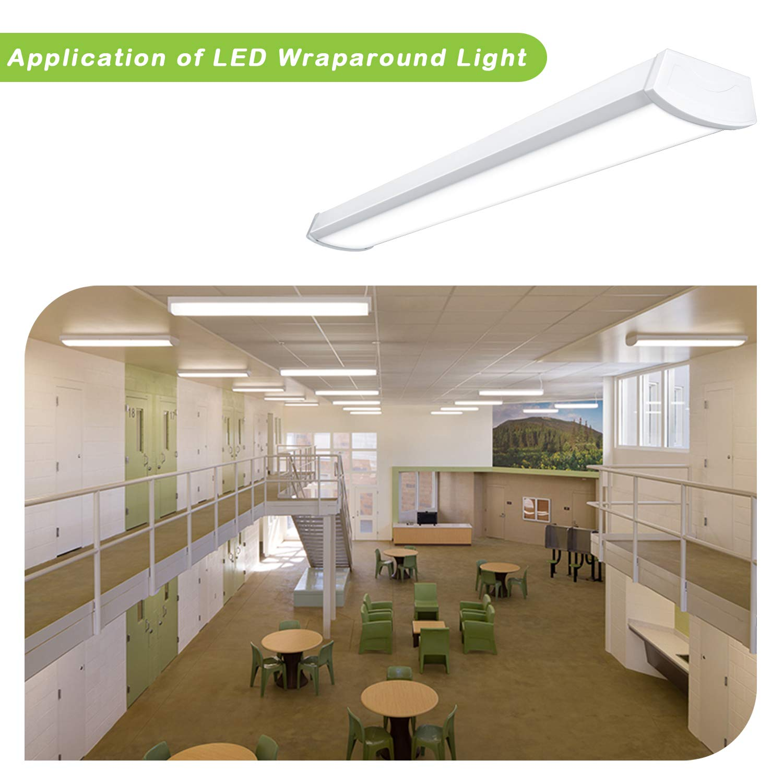 Flushmount shop Light for Garage ETL Listed Basement Surface Mount Ceiling light for Workshop 5000K Daylight 64W Fluorescent Equivalent Hykolity 4FT 40W 4000lm Linear LED Wraparound Light Office