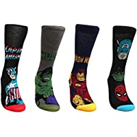 adam & eesa Marvel Comics 4 Pairs of Mens Superhero Socks 6-11 (2018 New Designs 4 Pack)