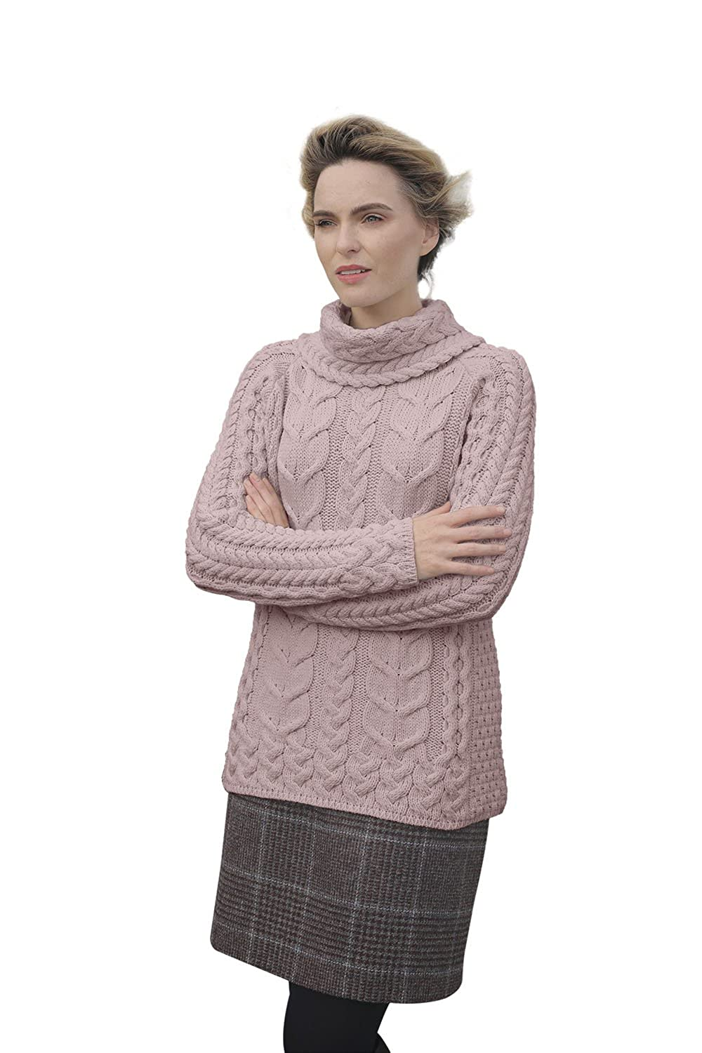 Supersoft Merino Cowl Neck Knit Aran Sweater