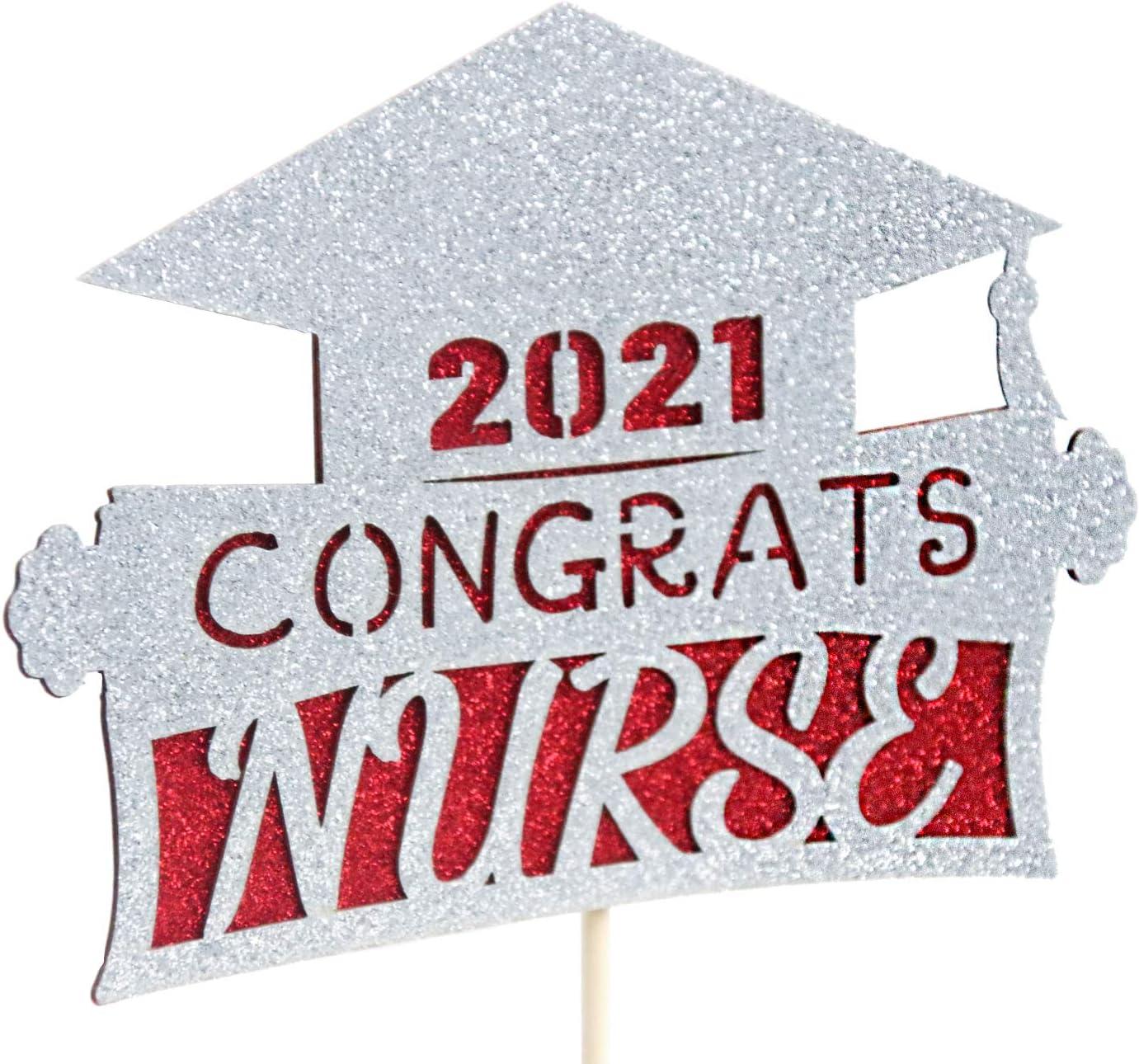Sliver Congrats 2021 Nurse Glitter Cake Topper Medical School Graduate Party Cake Decor Nursing//BSN//RN Graduation Party Supplies
