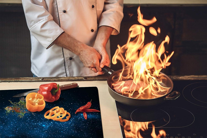 60x52 cm ou DEUX PI/ÈCES ; D09 Autre: Texture 70 30x52 cm chacune Planche de cuisine en verre tremp/é Couvre-plaques de cuisson UNE PI/ÈCE Couvre-cuisini/ère /à induction