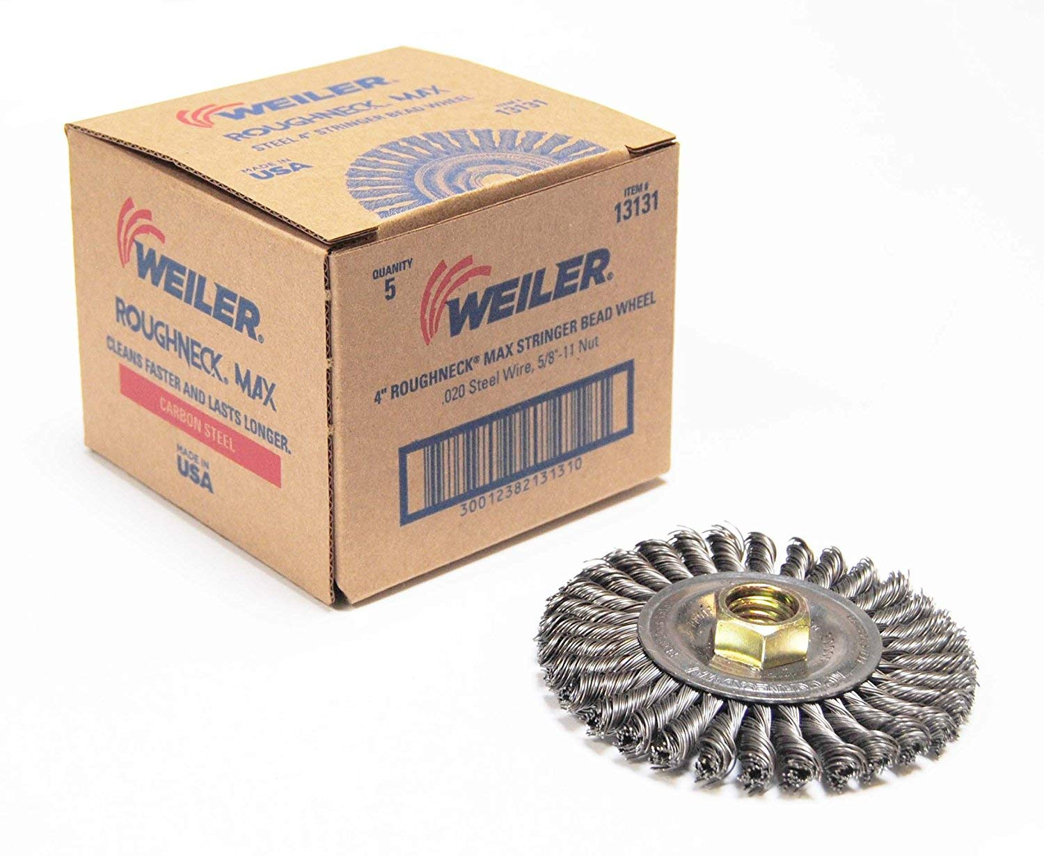 Weiler 13138 ROUGHNECK MAX 4'' Stringer Bead Wire Wheel.020'' Stainless Steel Fill, 5/8''-11 UNC Nut, Made in USA, Pack of 5