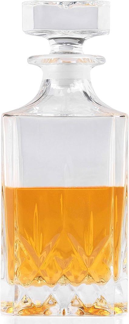 RCR Crystal Decantador cuadrado de vino y whisky