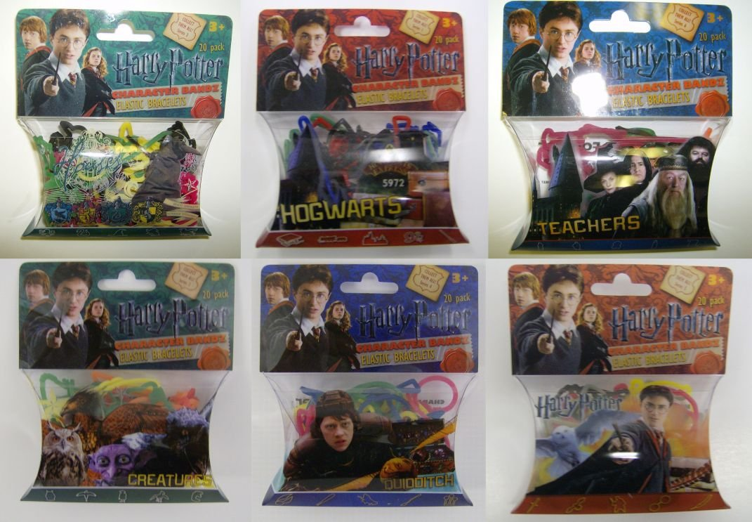 HARRY POTTER Silly Bandz Complete Collection HARRY POTTER, HOUSES, CREATURES, TEACHERS, QUIDDITCH, & HOGWARTS (6 Packs-20 Bandz Each)