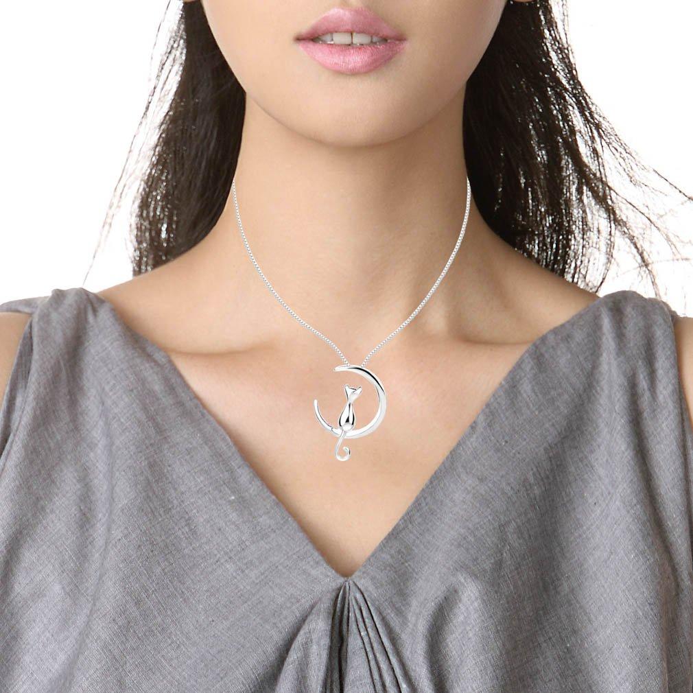YAZILIND /« Chat Assis Sur La Lune /» Design 925 Sterling Silver Pendentif Collier