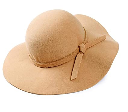 134efa99e90e2 Image Unavailable. Image not available for. Color  Onlineb2c Vintage Women  Ladies Floppy Wide Brim Wool Felt Fedora Cloche Hat Cap