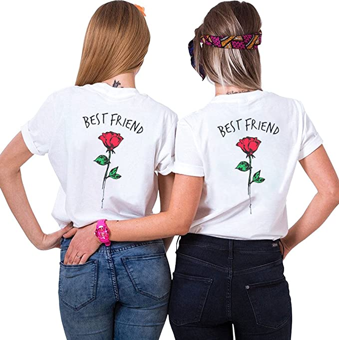 Best Friends T Shirt Rose Matching Tees Teen Girls Short Sleeve Women 2 Pack O Neck Tops Summer Cute Casual Gift Shirts Red Red M L Amazon Co Uk Clothing
