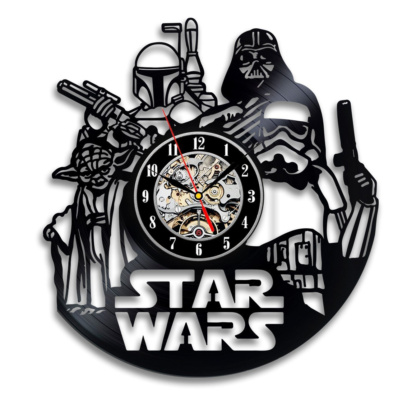 Star Wars Force Awakens Finn Rey Han Solo Vinyl Record Clock Room Wall Art Vinyl Evolution VE979