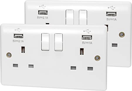 Double Wall Plug Socket 2 Gang 13A with 2 USB Charger Port Outlets Plate Black