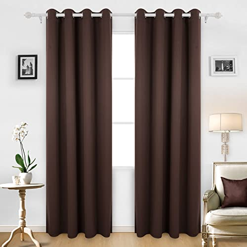Deconovo Blackout Grommet Top Window Darkening Curtains for Living Room, 52×95 Inch, Chocolate