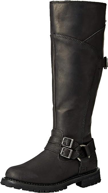 Black HARLEY-DAVIDSON FOOTWEAR Womens Bremerton 7 lace Motorcycle Boot 9.5