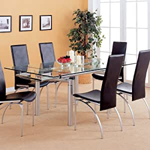 Pearl Silver Glass Top Extension Dining Table