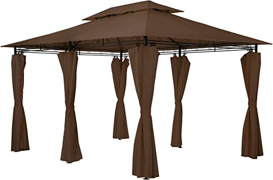 TecTake Carpa pabellón Tienda para Eventos y Fiestas de Jardin 3x4 m Incl.Paneles Laterales (marrón   no. 402461): Amazon.es: Jardín