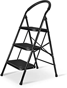 3 Step Ladder with Sturdy Wide Pedal Heavy Duty Ladder 330lbs Capacity for Household Black by XinSunho
