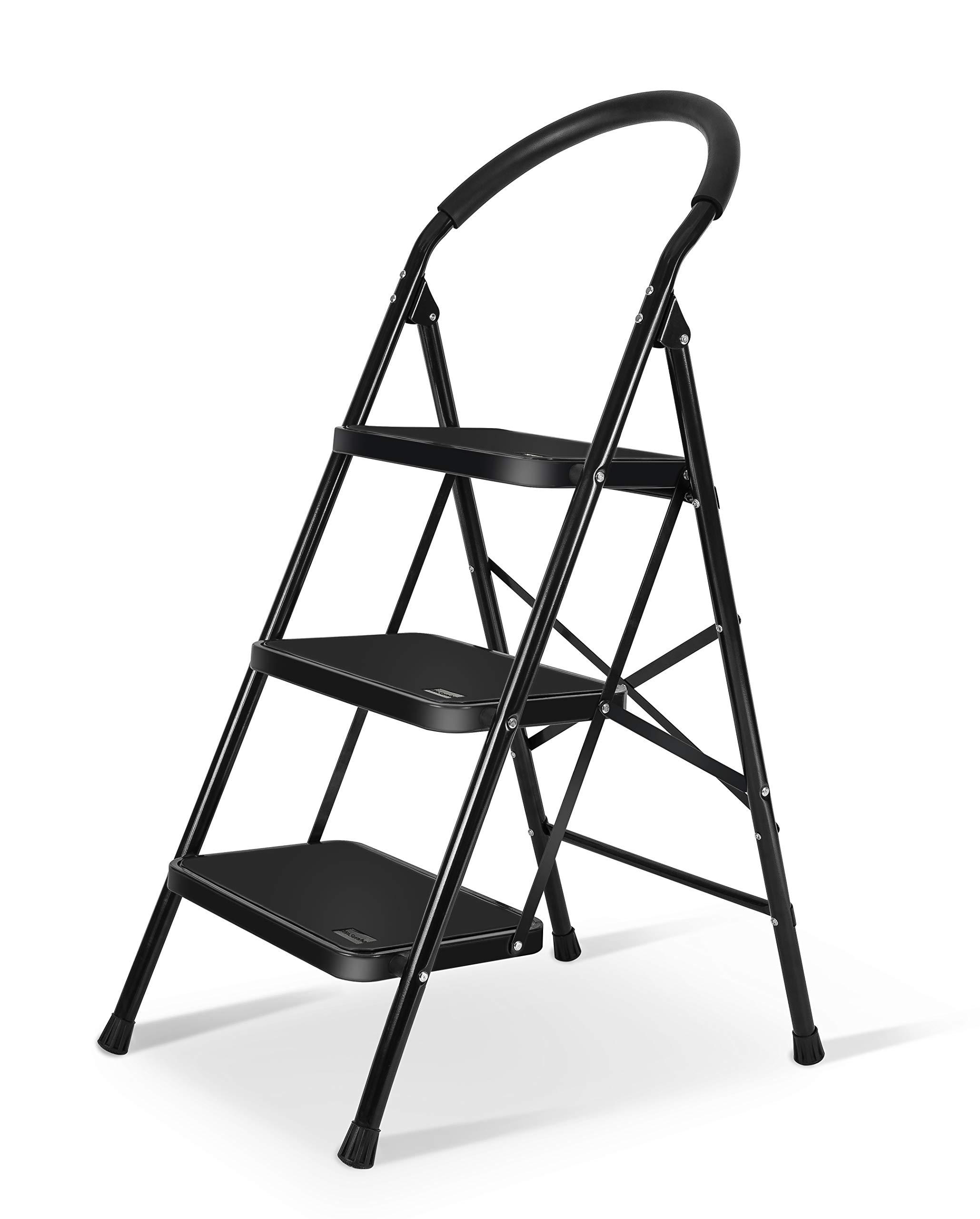 3 Step Ladder with Rubber Handgrip Anti-Slip Pedal Lightweight Ladder 330lbs Capacity Black by XinSunho