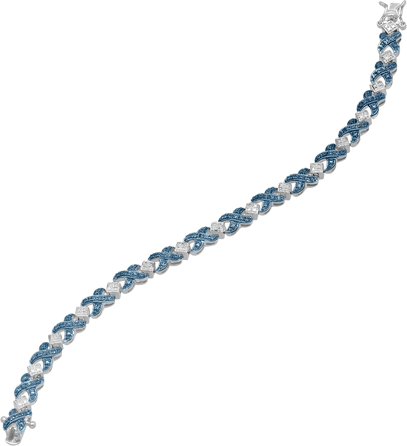 7.25 XOXO Tennis Bracelet with Blue Diamond in Sterling Silver-Plated Brass