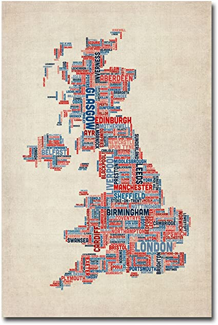 Michael Tompsett Uk Cities Text Map Canvas Art 16 By 24 Inch Amazon Co Uk Kitchen Home