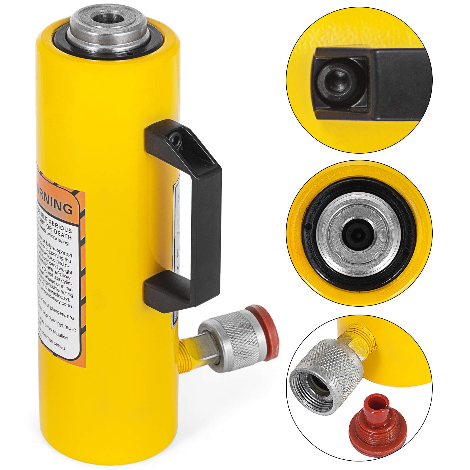 Mophorn 10T 6'' Stroke Hydraulic Cylinder Jack Solid Single Acting Hydraulic Ram Cylinder 150mm Hydraulic Lifting Cylinders for Riggers Fabricators (10T 6'') by Mophorn (Image #1)