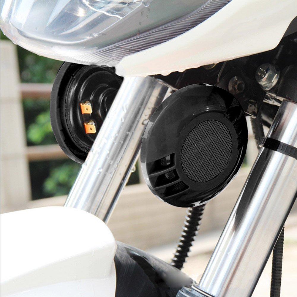 KKmoon 12V 430HZ 110dB Forte Sir/ène Ronde Haut-parleur pour Voiture Moto Noir