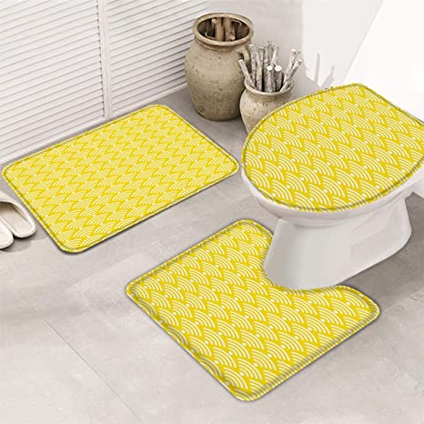 Amazon Com Doremihome Geometric 3 Pieces Bathroom Rugs Anti Skid Pads Non Slip Bathroom Rug Bath Mats Set Mat Contour Toilet Lid Cover Japanese Wave Lines Modern Art Yellow Home Kitchen