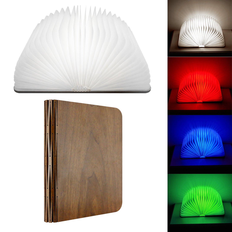 Led buch lampe faltbares holzbuch licht skst kabellos hölzern 360 klappbuch nachtlicht tischlampe mit usb wiederaufladbare 4 veränderbare farben für