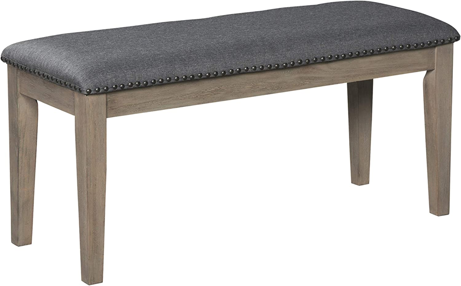 Signature Design By Ashley – Aldwin Upholstered Bench – Casual Style – Gray