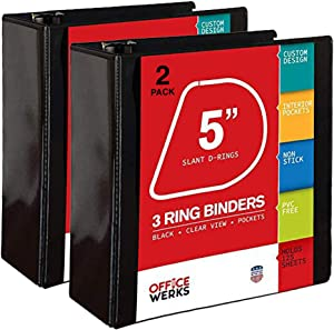 3 Ring Binder, Professional D Ring Binder 5 Inch, Presentation Folder for Standard Pages 8.5 x 11 with Pockets, Crystal Clear View Black Binder (2 Pack)