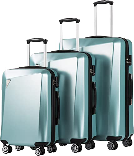 Coolife Luggage 3 Piece Sets PC ABS Spinner Suitcase 20 inch 24 inch 28 inch