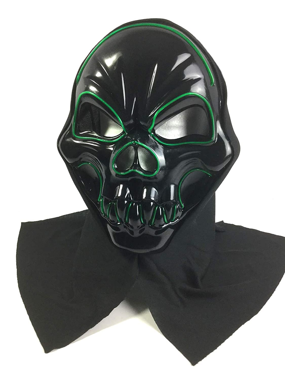Looking Spooky Spooky green Light up Ghoul mask with black shoulder cape