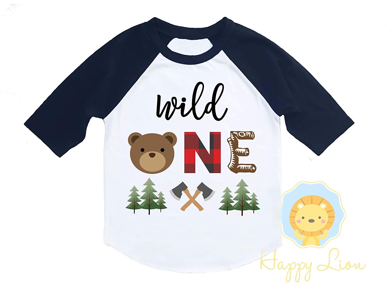 Happy Lion Clothing - Wild One Birthday Boy Shirt - Lumberjack Buffalo Plaid Bear First Birthday Raglan Woodland Forest