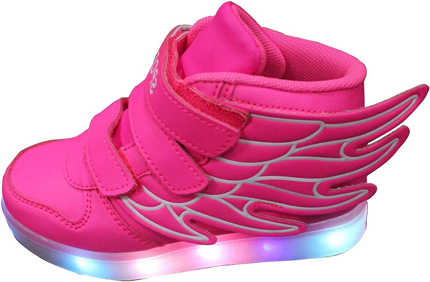 Maybest Kids Boys Girls LED Light Up Sneakers Athletic Wings High Shoe Dance Boot