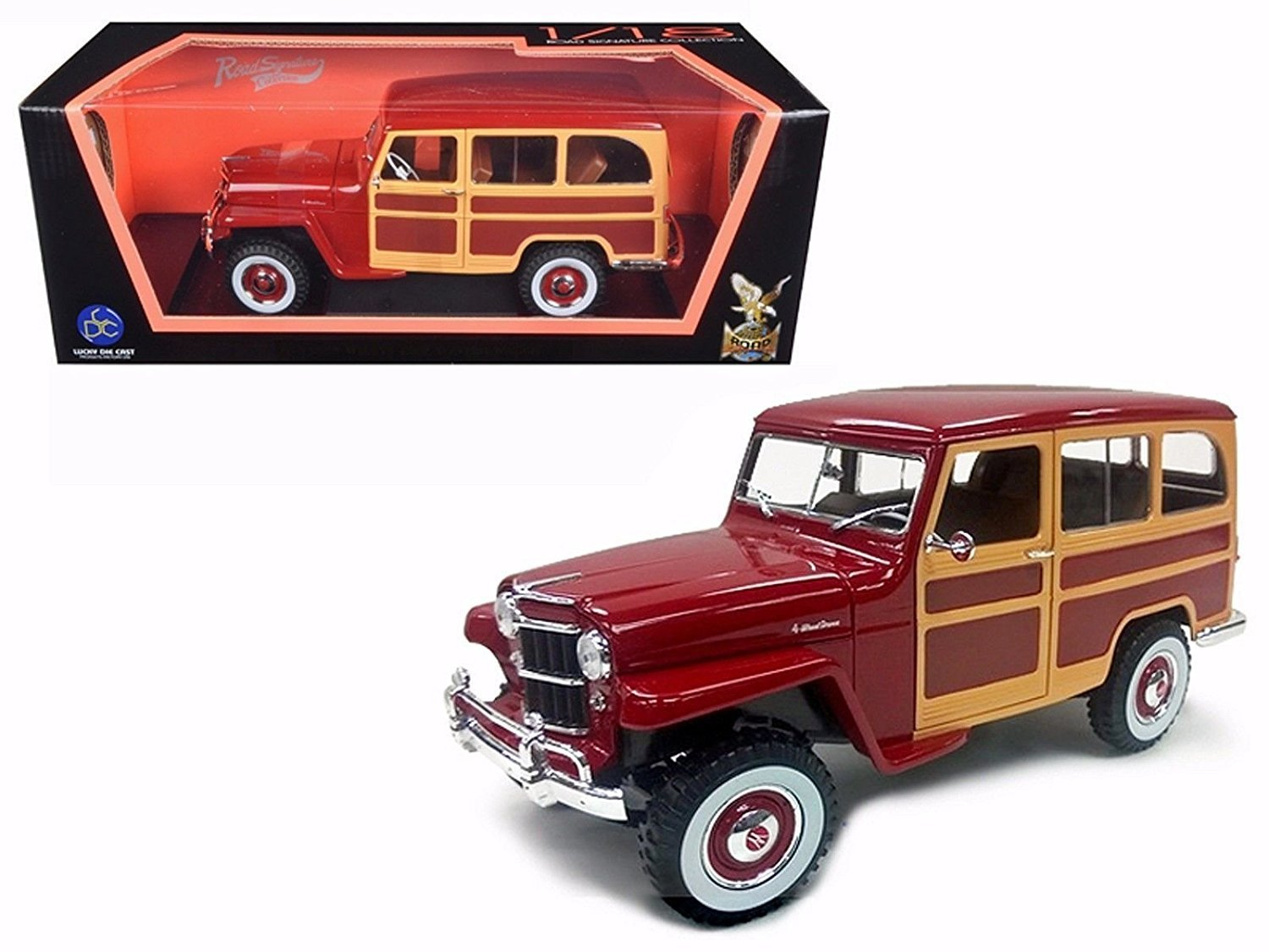 New 118 Road Signature Scollection Burgundy 1955 1941 Willys Jeep Station Wagon Diecast Model Car By Toys Games