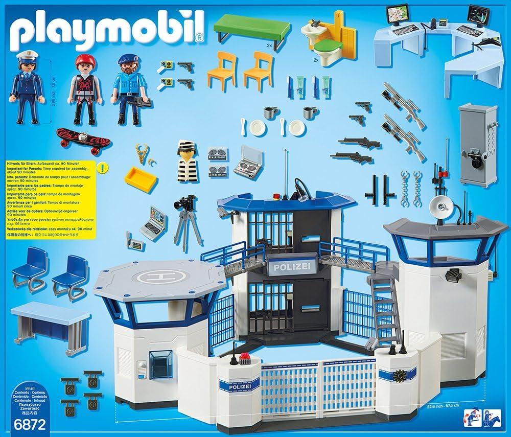 Playmobil 6872 Polizei Kommandozentrale Mit Gefängnis 6876 Motorradstreife Mit Led Blinklicht Amazon De Spielzeug