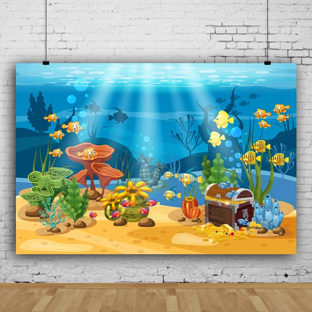10x6.5ft Underwater Sunken Treasure Case Fishes Polyester Photography Background Marine Theme Backdrop Child Kids Baby Birthday Party Banner Safari Party Ocean Wallpaper Studio Holiday