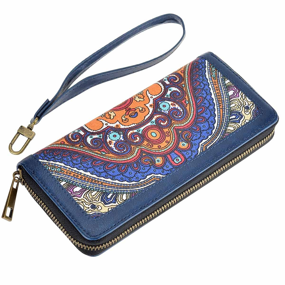 HAWEE Long Clutch Wallet PU Leather Zipper Purse with Wristlets for Card/Cellphone/Coin/Cash, Grey Linen+Brown HW-CS-AX119-BW