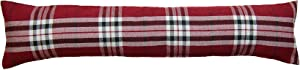 Classic Home Store Tartan Check Draught Excluder 100% Polyester Fabric Door or Window Draft Guard Cushion (Red)