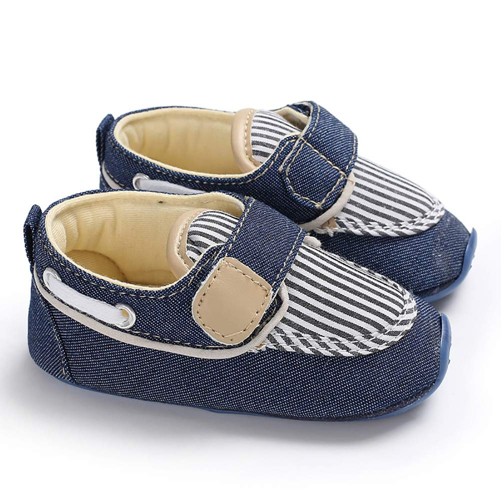 Blue 6-8M Alamana Casual Infant Baby Boy Girl Stripe Canvas Prewalker Anti-Slip Sole Crib Shoes