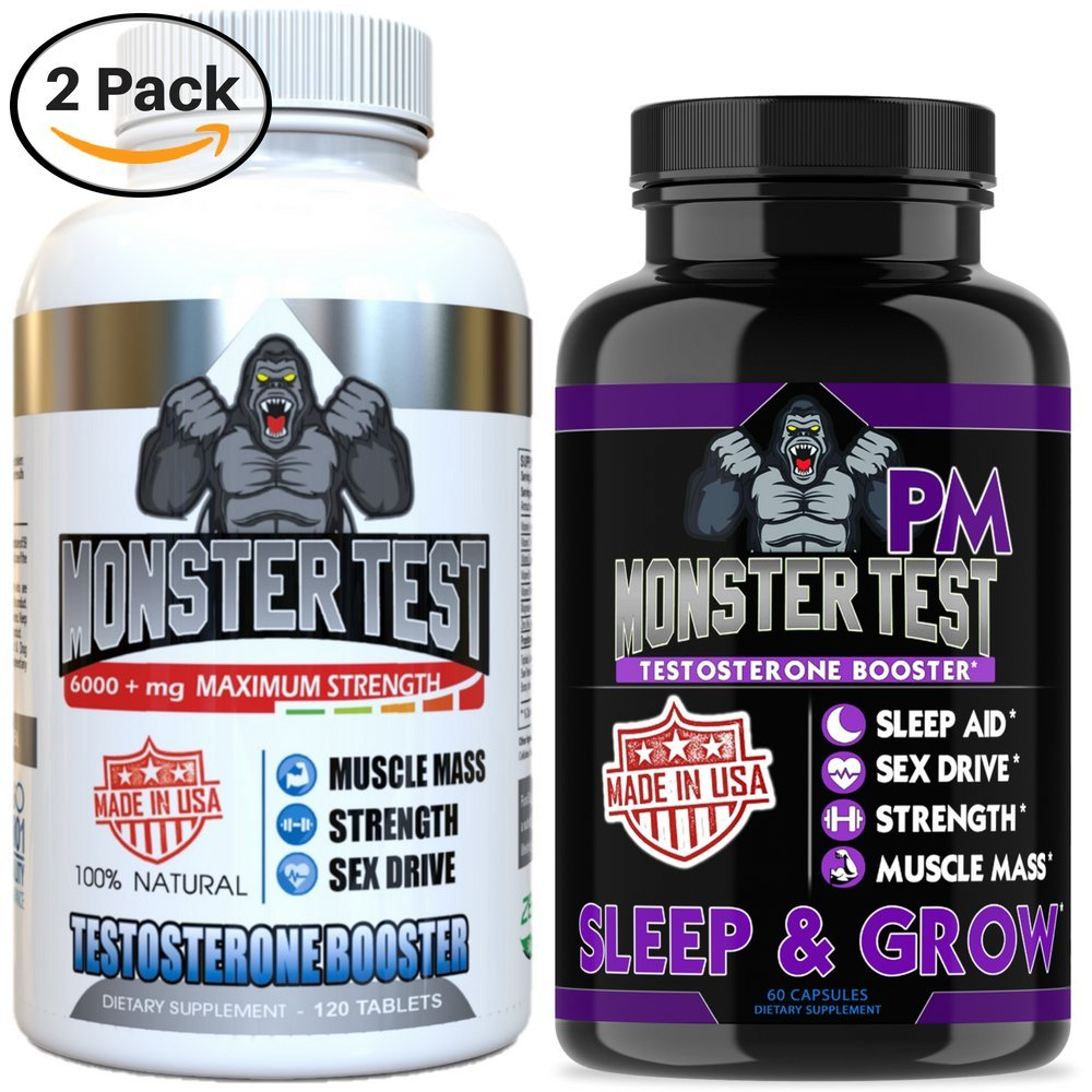 Angry Supplements Testosterone Booster for Men (2 Pack), Monster Test (120 Tablets), Monster PM (60 Capsules) Sleep Aid, Builds Muscle Mass, Both Boost Energy & Sex Drive, All Natural, Made in USA