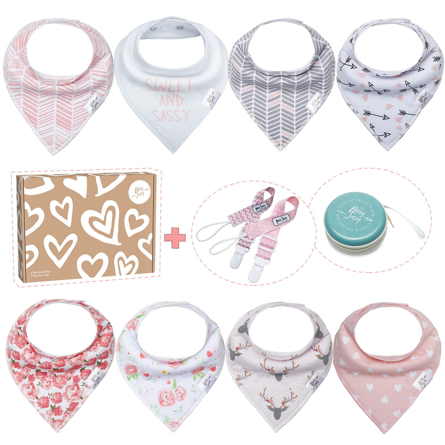 Baby Bibs for Girls by Bossy Sassy - 8 Pack Teething Pink Baby Bandana Drool Bibs + 1 Multifunctional Case, Best Baby Shower/Registry Gifts Set for Girls 0-24 Months by Bossy Sassy