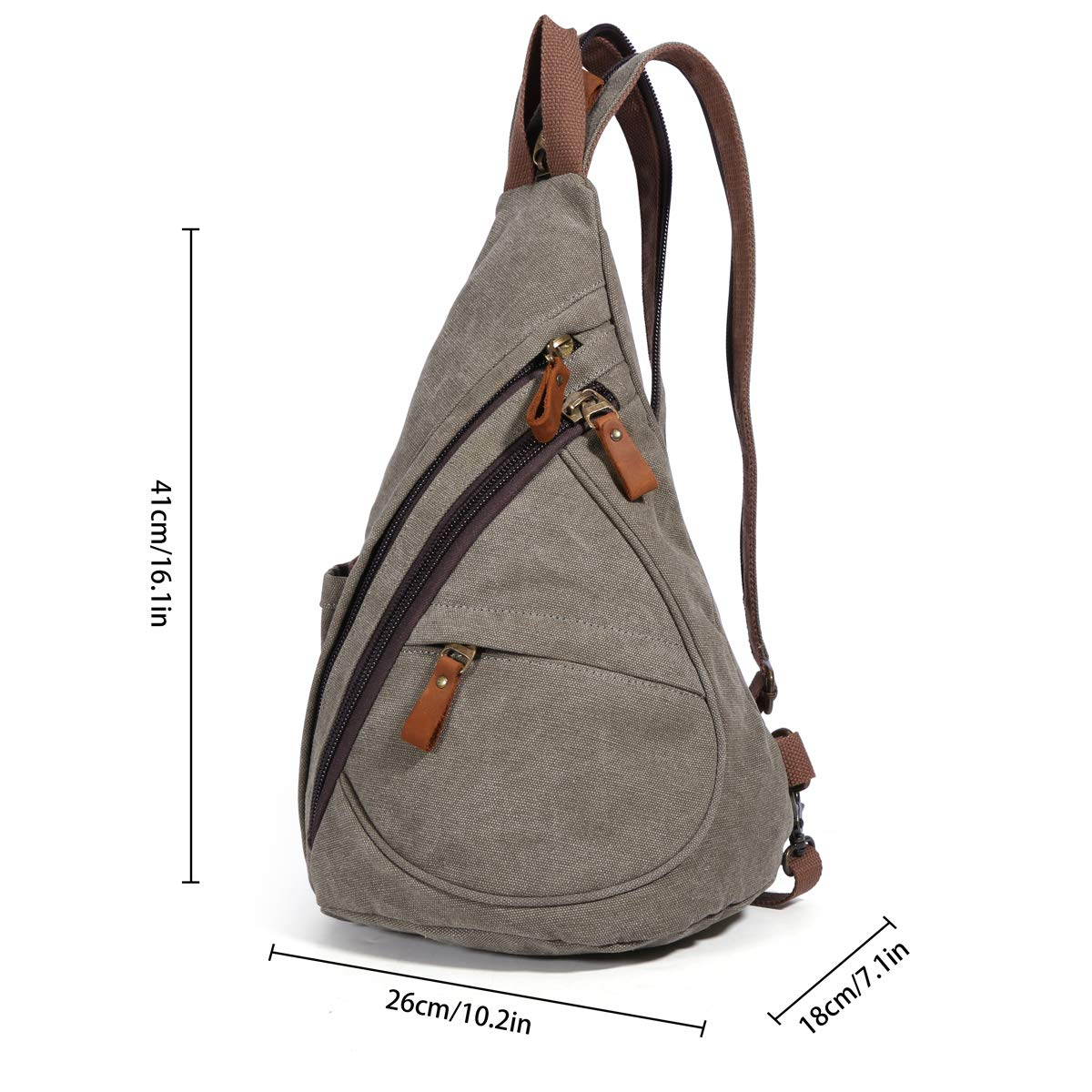 Canvas Sling Bag Small Crossbody Backpack Shoulder Casual Daypack Chest Bags Rucksack for Men Women Outdoor Cycling Hiking Travel 6881-Khaki