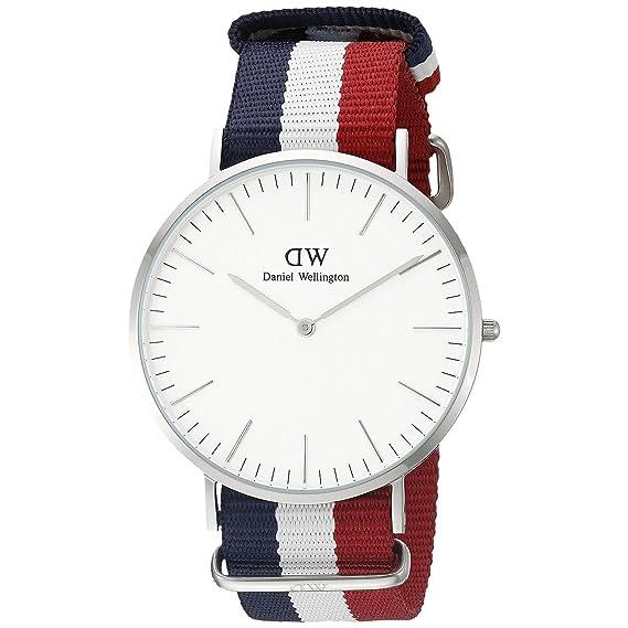 Daniel Wellington hombre-reloj analógico de cuarzo talla única, colour blanco, azul/blanco/rojo/plata: Amazon.es: Relojes