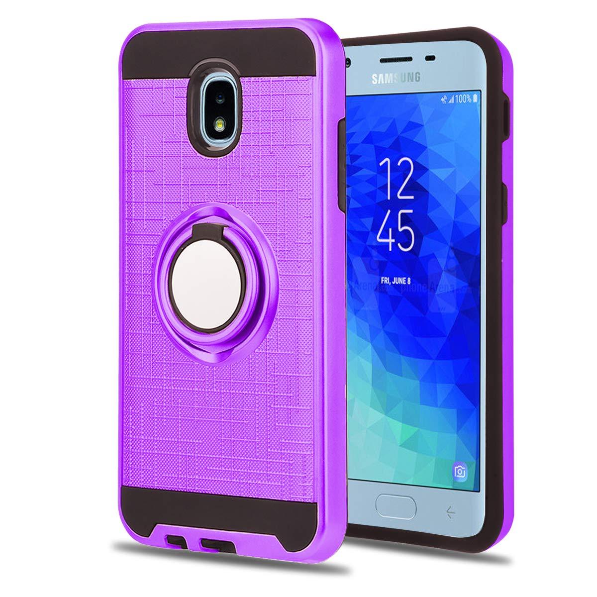 HD Screen Protector for J737T-HM Black Ymhxcy Samsung Galaxy J7 2018//J7 V 2nd Gen//J7 Refine//J7 Aero//J7 Star//J7 Top//J7 Crown//J7 Aura//J7 Eon//J737V Rotating Bracket Case with Card Slots Wallet Holder