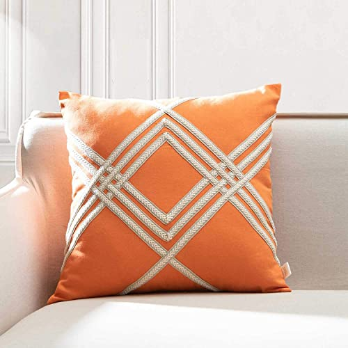 TINA S HOME Woven Braided Geometric Throw Pillow Cover