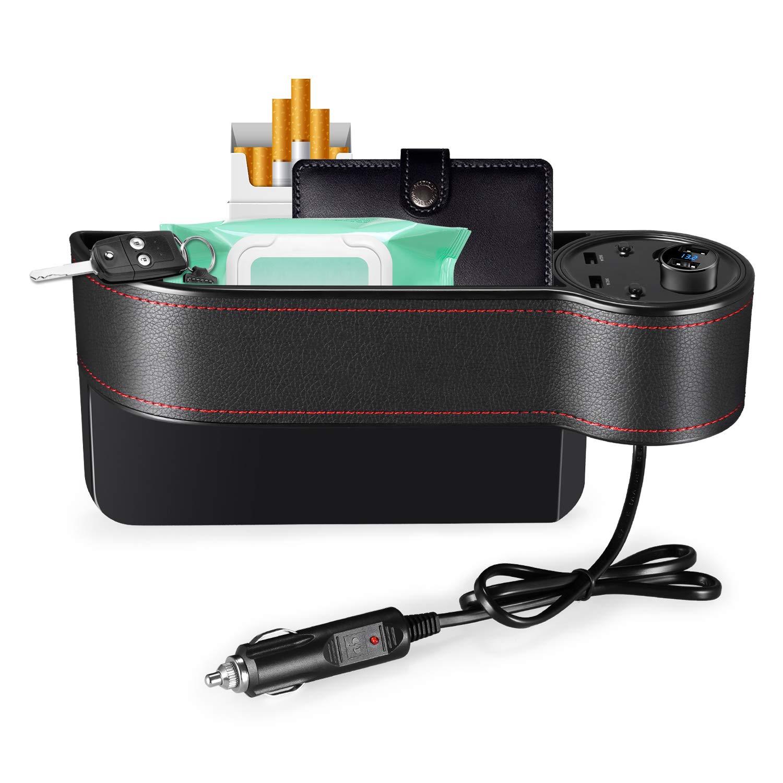 AUTOLOVER Car Seat Storage Organizer, Car Seat Side Pocket Organizer, C15 Car Seat Gap Filler 2 USB Chargers 2 Cigar Lighters | Premium PU Leather
