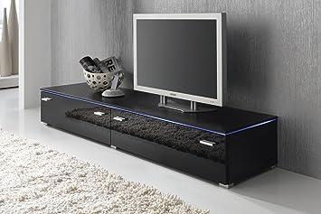 Lowboard TV Schrank TV Element 180 Cm Schwarz Fronten Hochglanz, Optional  LED Beleuchtung