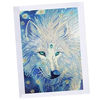 perfk DIY Diamant Malerei 5d Diamond Painting Set - Handarbeit Klebebild für Zuhause Wand-Dekoration - Wolf
