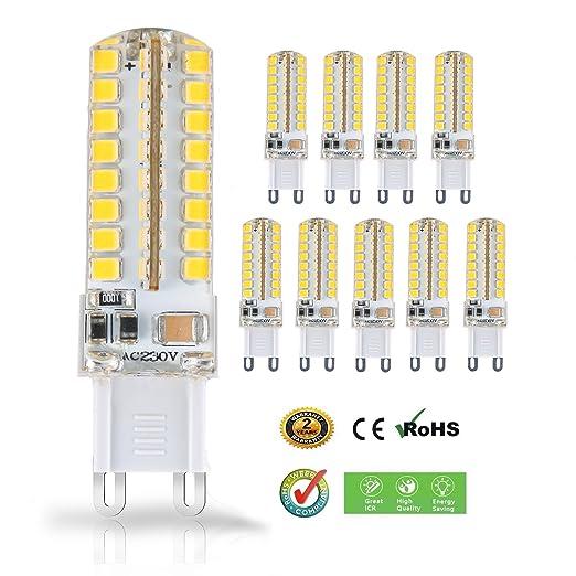 Liqoo 10 uds Bombillas LED G9 5W=40W Halógena Blanco Cálido Lámpara Bajo Consumo AC